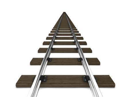 sleepers: 3d render of railway tracks Stock Photo