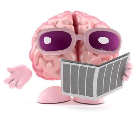 3d render of a brain reading a newspaper photo