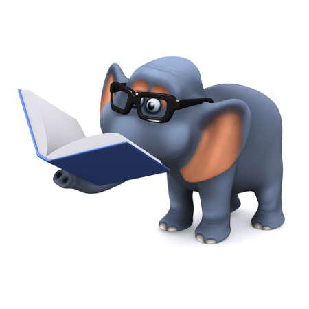 libro caricatura: Procesamiento 3D de un elefante de leer un libro Foto de archivo