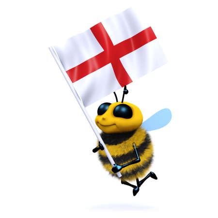 pollinate: 3d render of a bee carrying the English flag Stock Photo