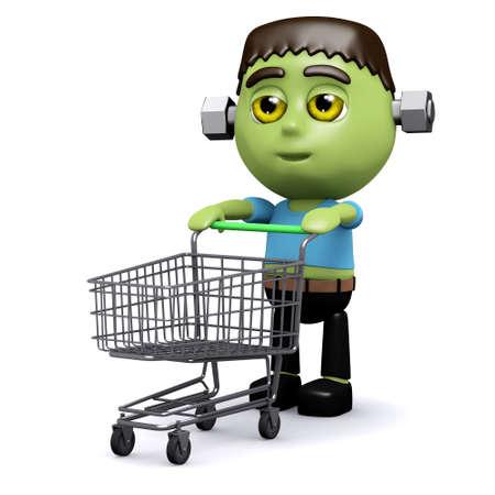 wheeling: 3d render of Frankenstein wheeling a shopping trolley