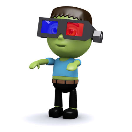 monster movie: 3d render of a frankenstein wearing 3d glasses