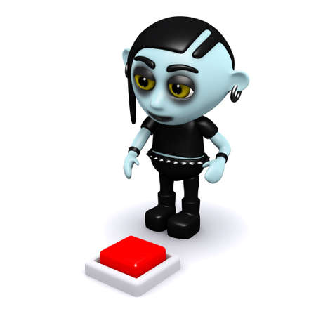 3d render of a punk goth looking at a red button photo