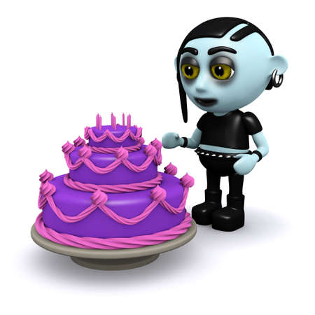 3d render of a punk goth looking at a purple cake photo