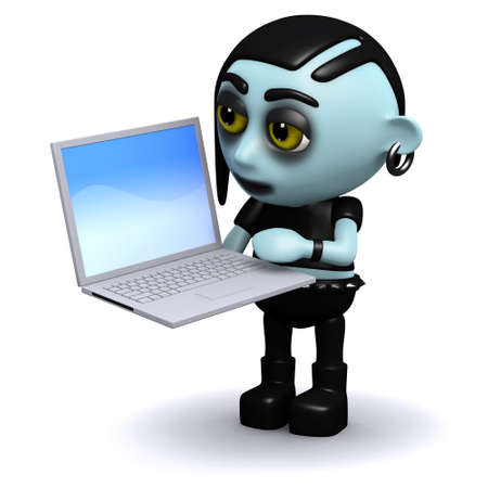 3d render of a punk goth playing with a laptop photo