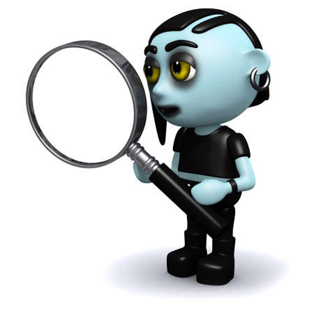 3d render of a punk goth holding a magnifying glass photo