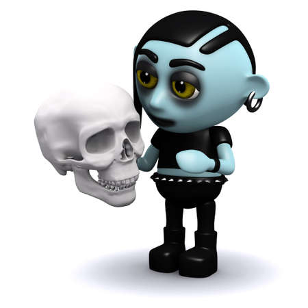 3d render of a punk goth holding a human skull photo