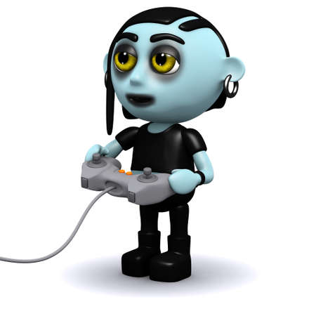 3d render of a punk goth playing a video game photo