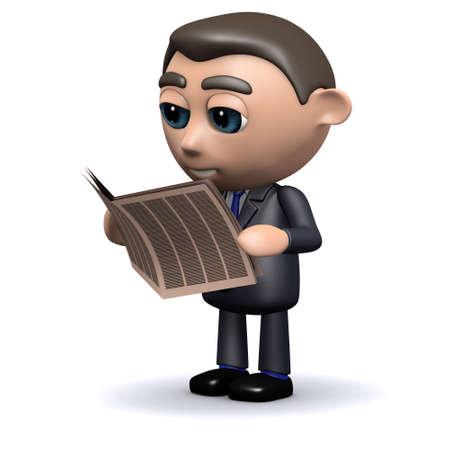 current affairs: 3d render of a salesman reading a newspaper