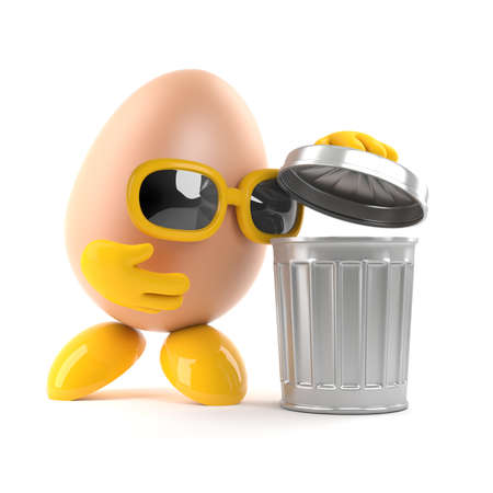 dispose: 3d render of an egg character looing in a trash can Stock Photo