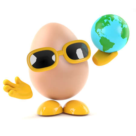 3d render of an egg holding a globe of the Earth photo