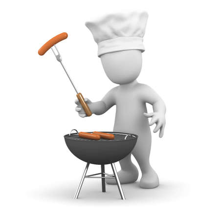 3d render of a little person cooking on a barbecue photo