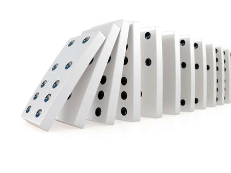 3d render of white dominoes falling over in a chain