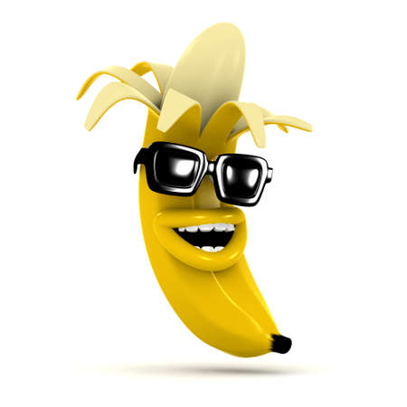 chuckle: 3d render of a laughing peeled banana wearing sunglasses Stock Photo
