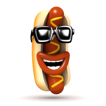 cool dude: 3d render of a hot dog laughing while wearing his cool dude shades