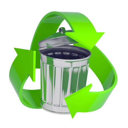 rubbish bin: 3d render of a galvanized steel rubbish bin surrounded by a green recycle symbol