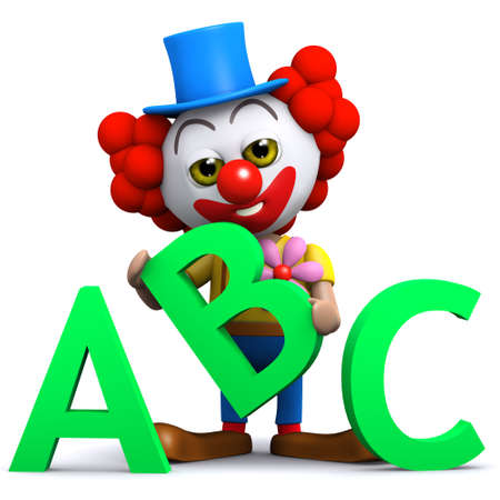 3d render of a clown learning the alphabet with the letters ABC photo