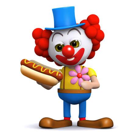 3d render of a clown holding a hotdog photo