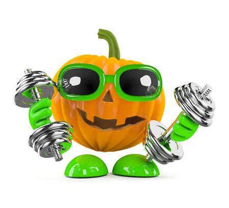calabaza caricatura: Procesamiento 3D de un personaje de calabaza trabajo con pesas Foto de archivo