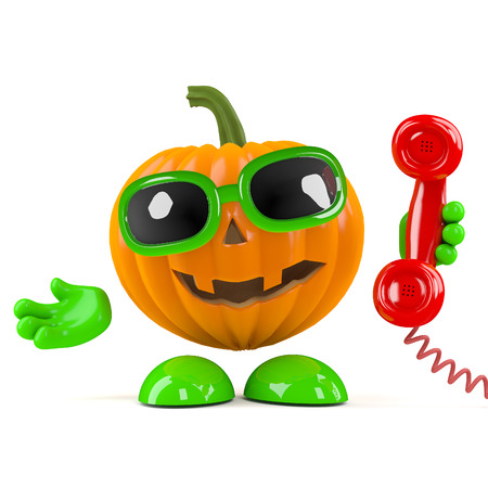 answering phone: 3d render of a pumpkin character answering the phone