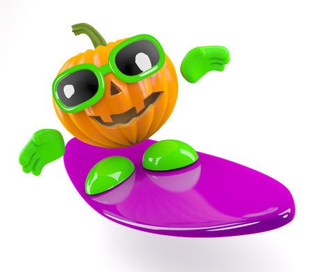 prank: 3d render of a pumpkin character surfing