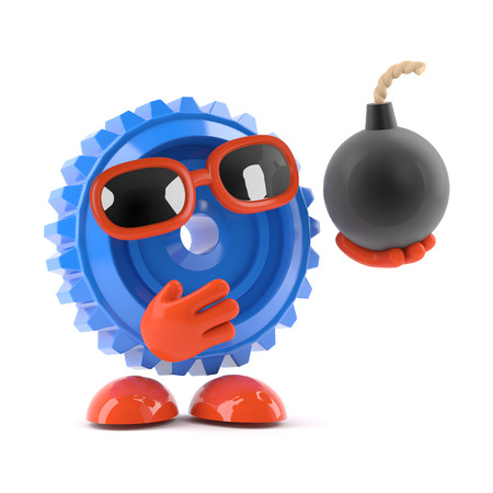 3d render of a cog holding a bomb photo