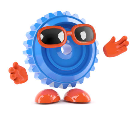 arms outstretched: 3d render of a cog with arms outstretched Stock Photo