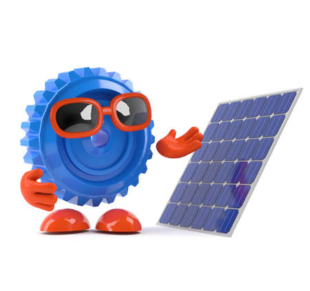 3d render of a cog looking a solar panel photo