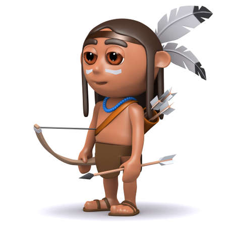 3d render of a Native American Indian boy with bow and arrow photo
