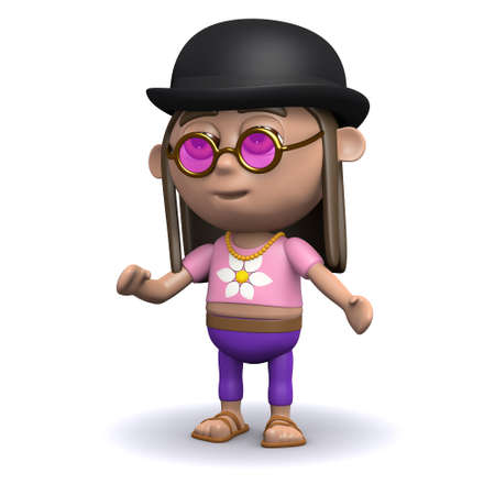 bowler hat: 3d render of a hippie wearing a bowler hat
