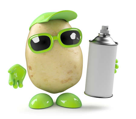 spraypaint: 3d render of a potato holding a can of spraypaint