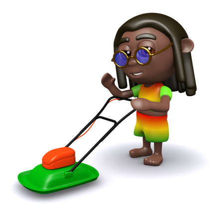 jah: 3d render of a rastafarian with a lawnmower Stock Photo