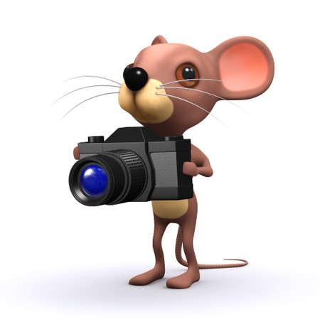 rata caricatura: 3d rinden de un rat�n con una c�mara Foto de archivo