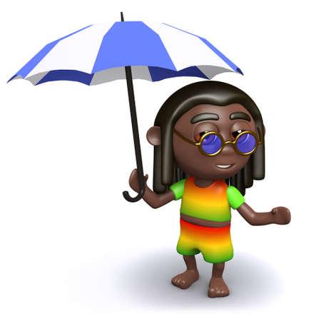 dreads: 3d render of rastafarian under his umbrella