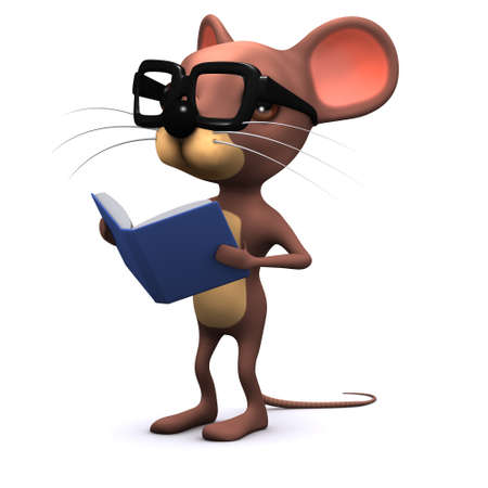 3d render of a mouse wearing spectacles and reading a book photo