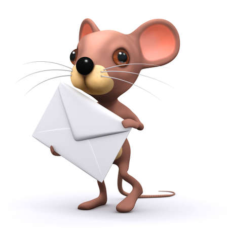 timid: 3d render of a mouse holding an envelope