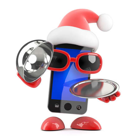 silver service: 3d render of a smartphone dressed as Santa Claus holding a silver service tray and lid Stock Photo
