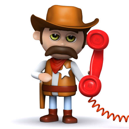 3d render of a cowboy sheriff holding a red telephone handset photo