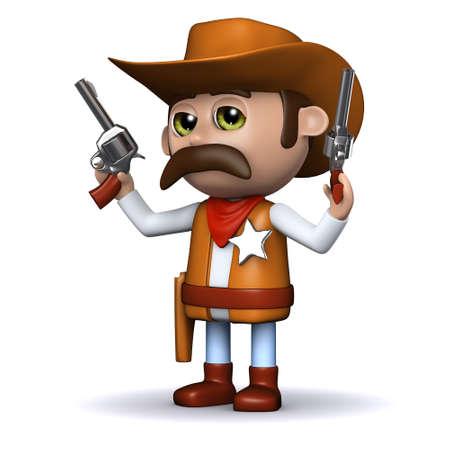 brandweer cartoon: 3D render van een cowboy afvuren zowel geweren in de lucht Stockfoto