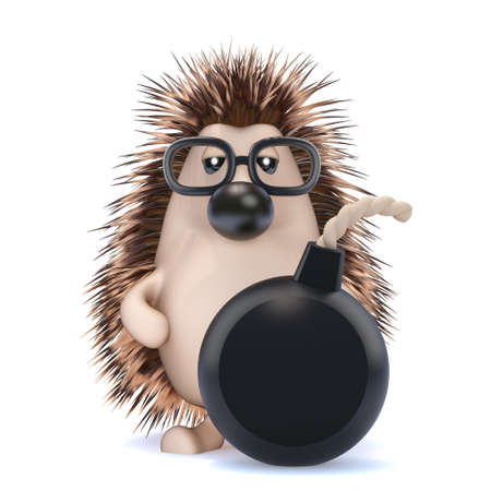 3d render of a hedgehog with a bomb photo