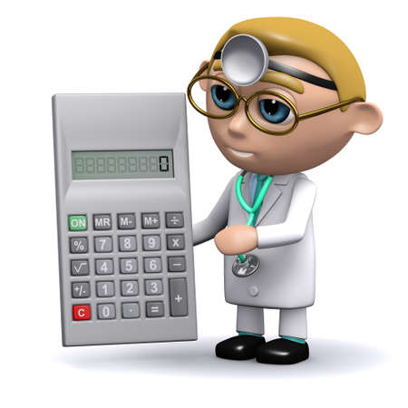 3d render of a doctor with a calculator photo