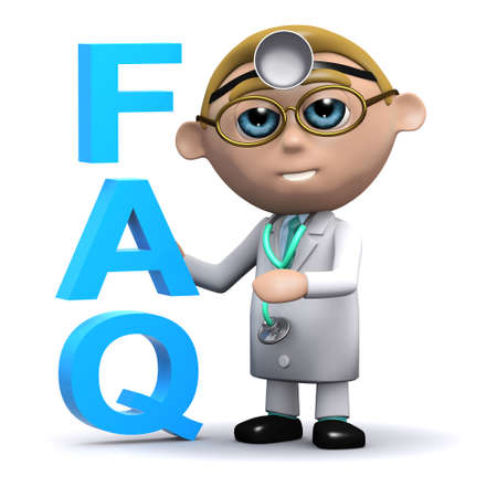 acronym: 3d render of a doctor next to the acronym FAQ Stock Photo