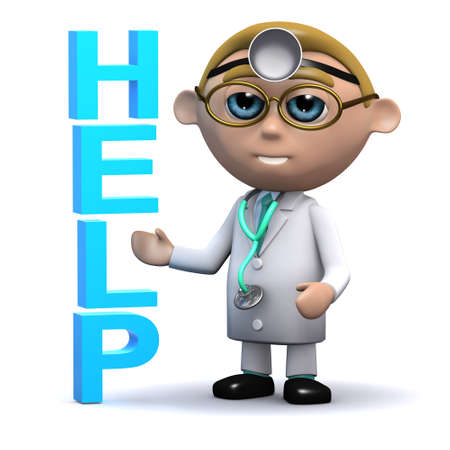 gp: 3d render of a doctor next to the word HELP