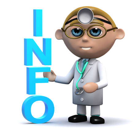 gp: 3d render of a doctor next to the word Info