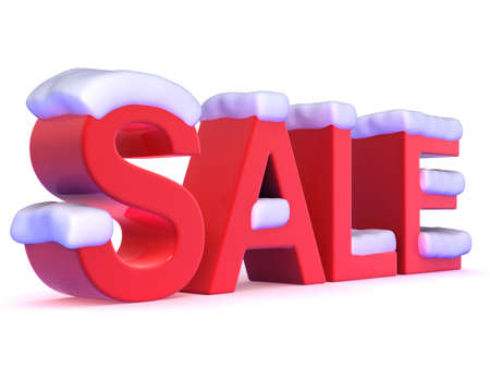 christmas debt: 3d render of the word SALE covered in snow Stock Photo