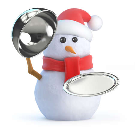 silver service: 3d render of a snowman with a silver service tray Stock Photo
