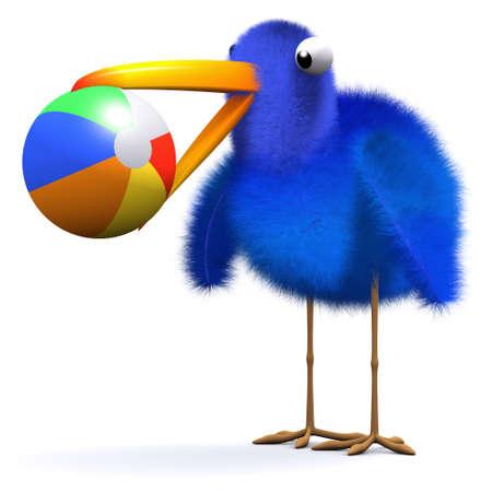 aves caricatura: 3d de un pájaro azul con una pelota de playa