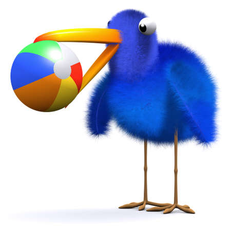 beachball: 3d render of a bluebird with a beachball