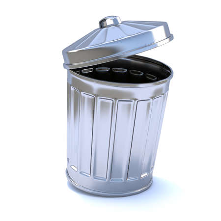 3d render of a trash can with open lid