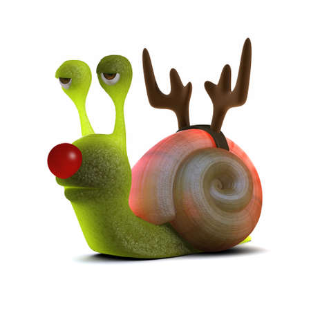 slither: 3d render of a snail wearing reindeer antlers and a red nose